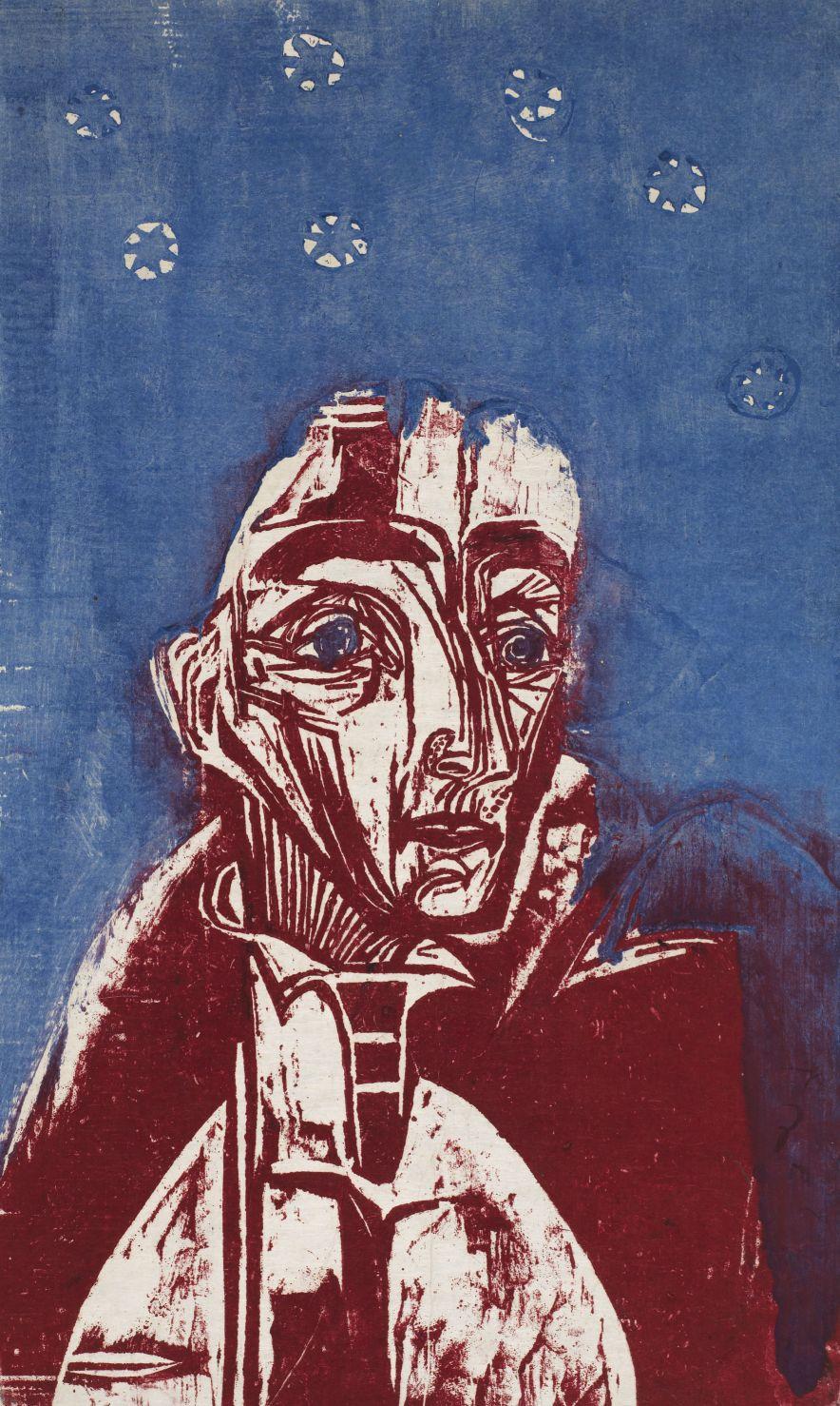 Ernst Ludwig Kirchner, Frau in der Nacht, 1919 Farbholzschnitt, 58 x 34,4 cm Kunstmuseum Bern, Legat Cornelius Gurlitt 2014 © Kunstmuseum Bern
