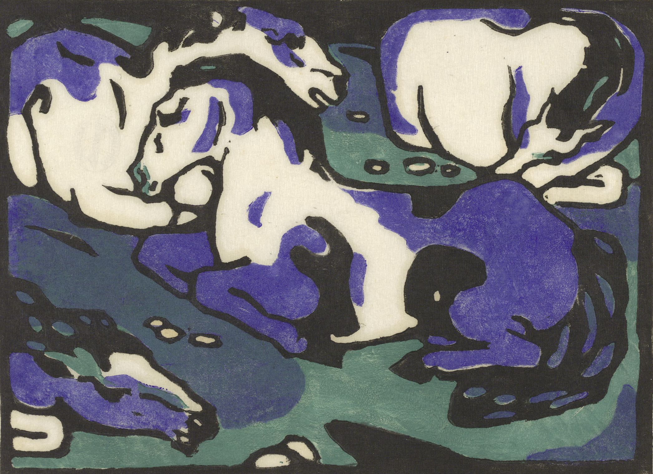 Franz Marc, Dormant Horses, 1911 – 1912, Woodcut, 16,8 x 23 cm Albertina Wien. Permanent loan by the Austrian Ludwig Foundation for Art and Science (If used online, please add: www.albertina.at)