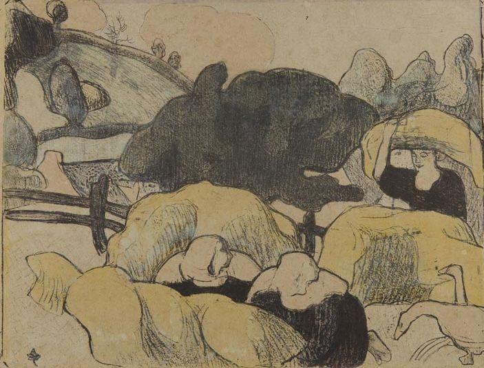 Emile Bernard : Bretonnes faisant la moisson, 1889, handkolorierte Zinkografie, 25,20 x 32,80  cm, Foto: Kunsthalle Mannheim/ Kathrin Schwab