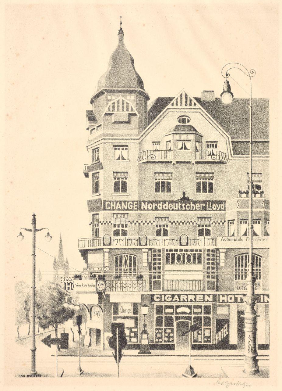 Carl Grossberg: Eckhaus, 1927 Lithographie, 41 x 34 cm Kulturhistorisches Museum Rostock Foto: Kulturhistorisches Museum Rostock, Brigitte Reichel