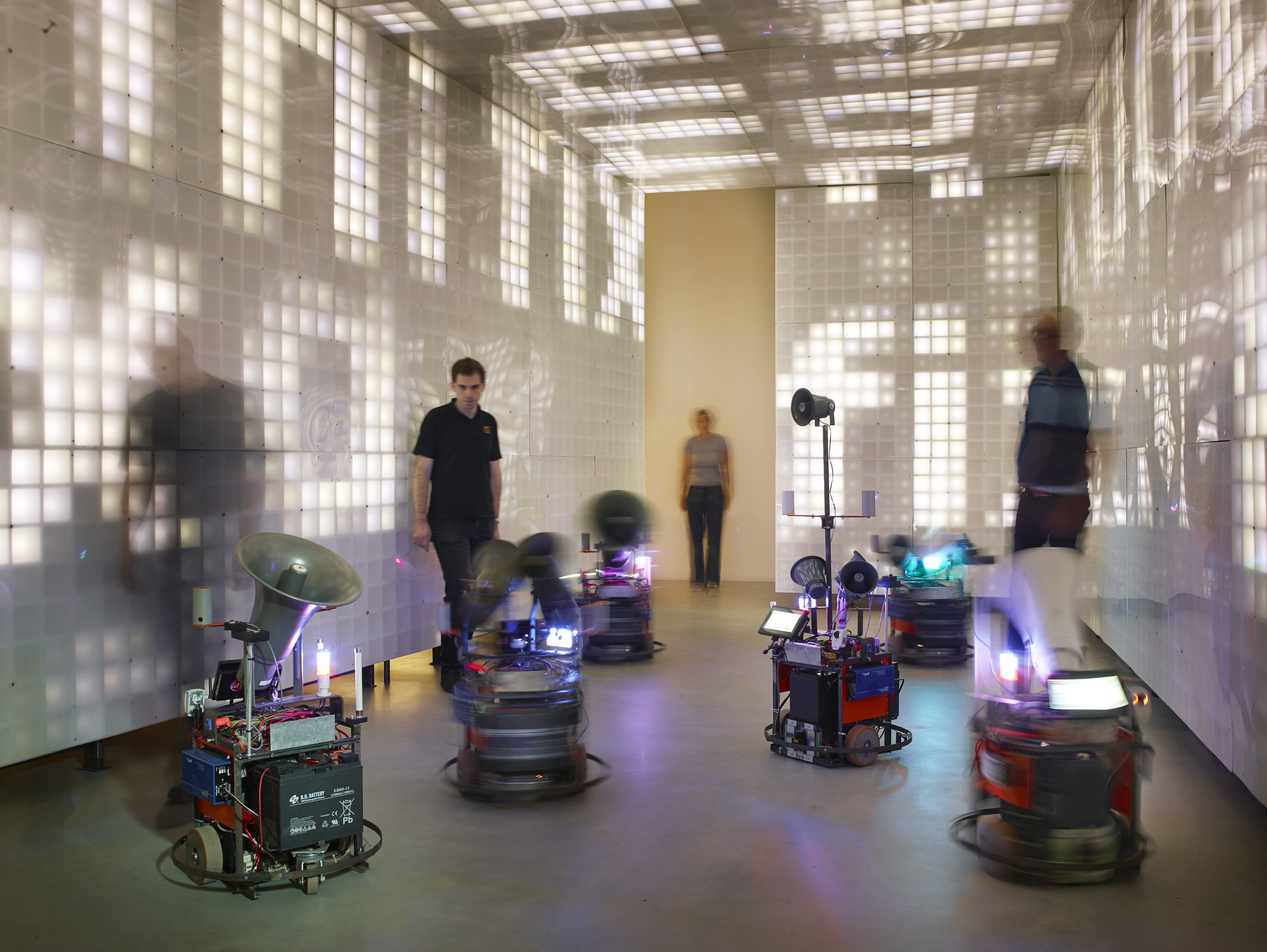 BBM (Observers of Operators of Machines): EPKOT (Experimental Prototype Killers of Tomorrow), 2018, interactive installation, mixed media (robots, displays, sound), installation view Kunsthalle Mannheim 2018, courtesy BBM, © photo: Hardy Müller, Mannheim