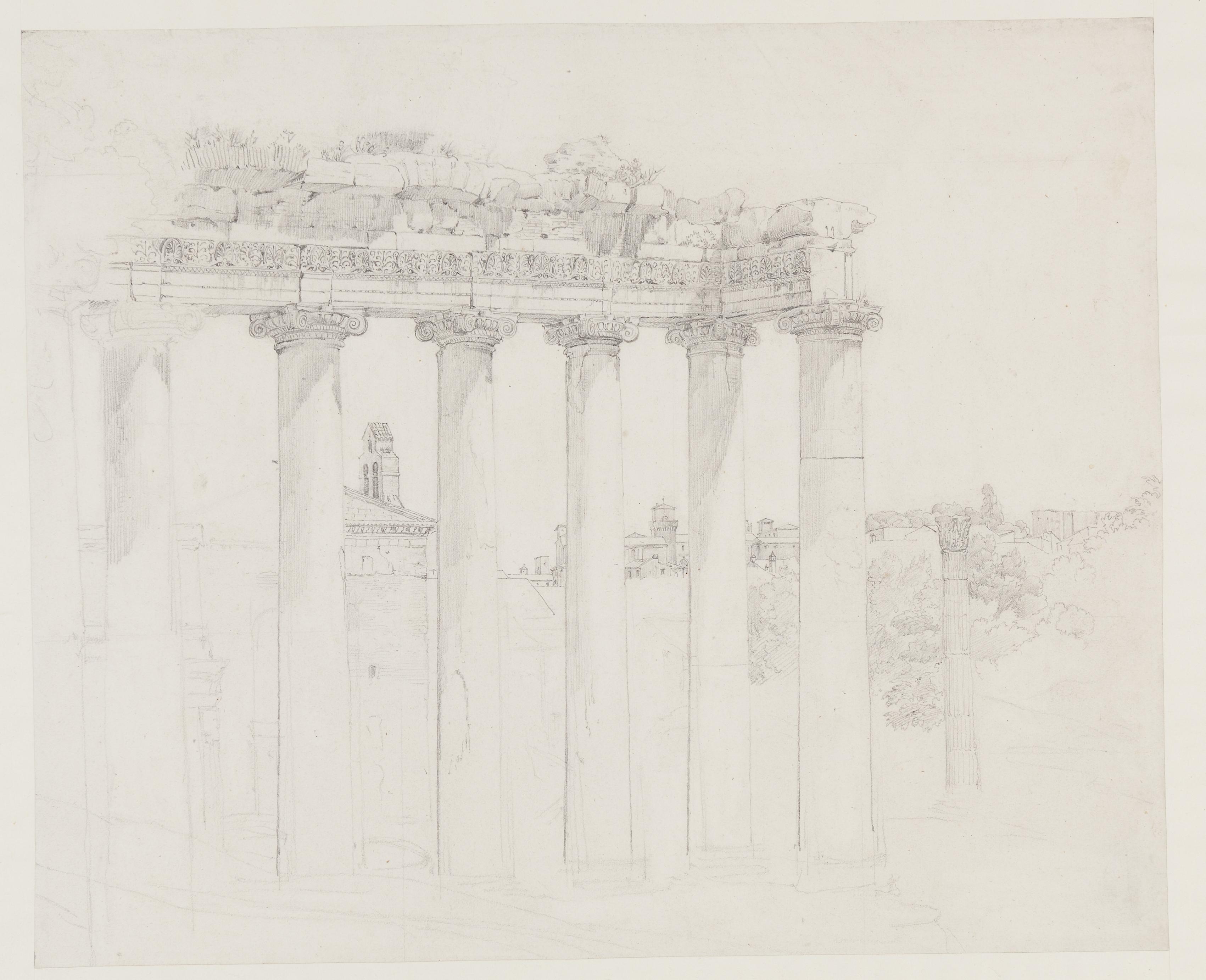 Joseph Thürmer (1789 - 1833), Blick durch antike Tempelruine auf eine italienische Stadt, 1817