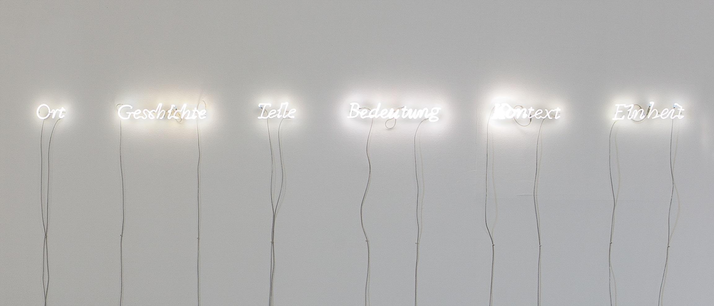 Joseph Kosuth (*1945), Sechs Teile, lokalisiert (Ort – Teile – Einheit – Kontext – Bedeutung – Geschichte), 2000 Ⓒ VG Bild-Kunst, Bonn 2019, Foto: Kunsthalle Mannheim/ Cem Yücetas