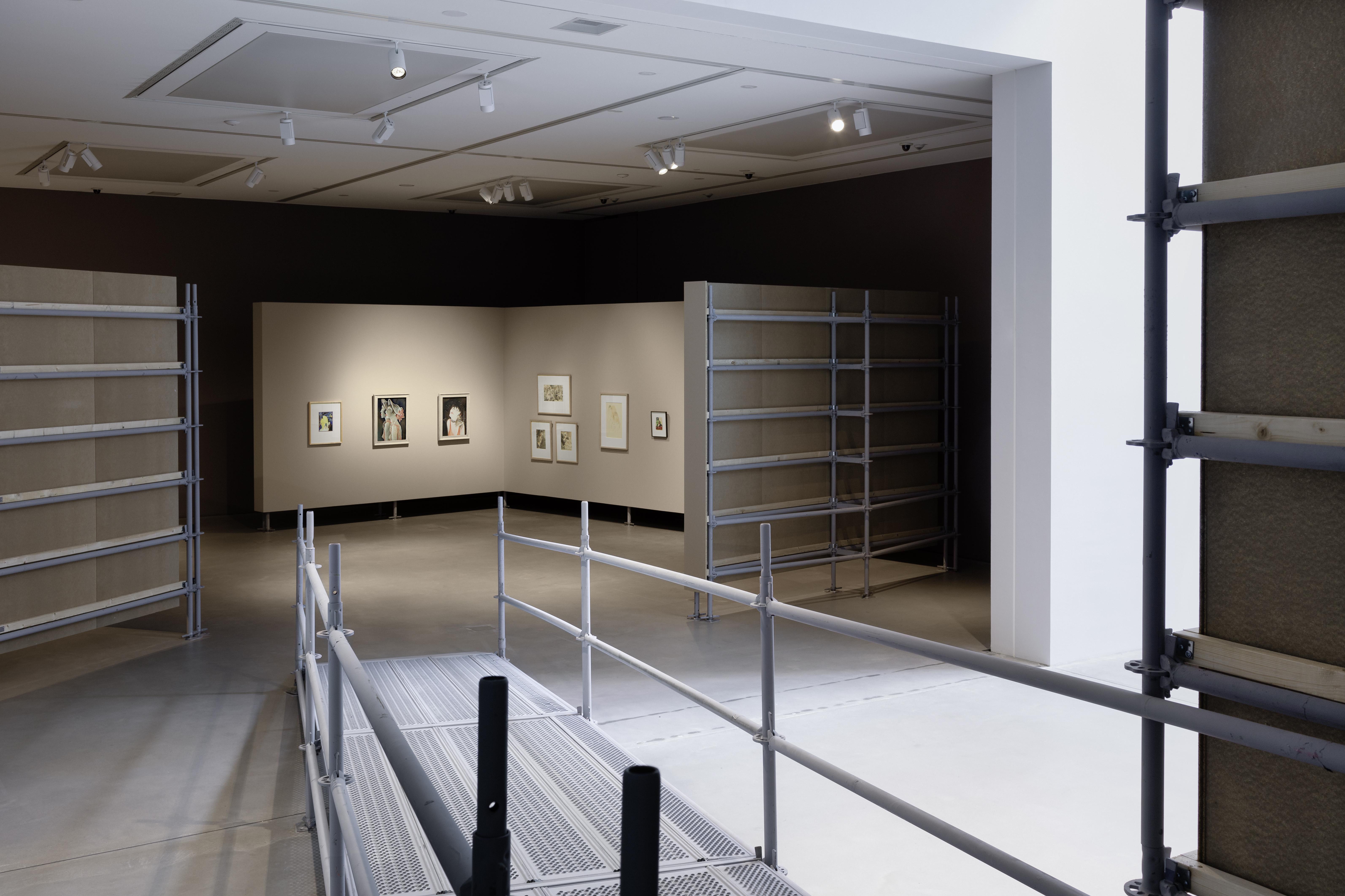 """Installationsansicht in der Ausstellung """"Umbruch"""" mit Werken von Jeanne Mammen, Kunsthalle Mannheim, 2020, Kunsthalle Mannheim/Foto: Rainer Diehl © VG Bild-Kunst, Bonn 2020"""