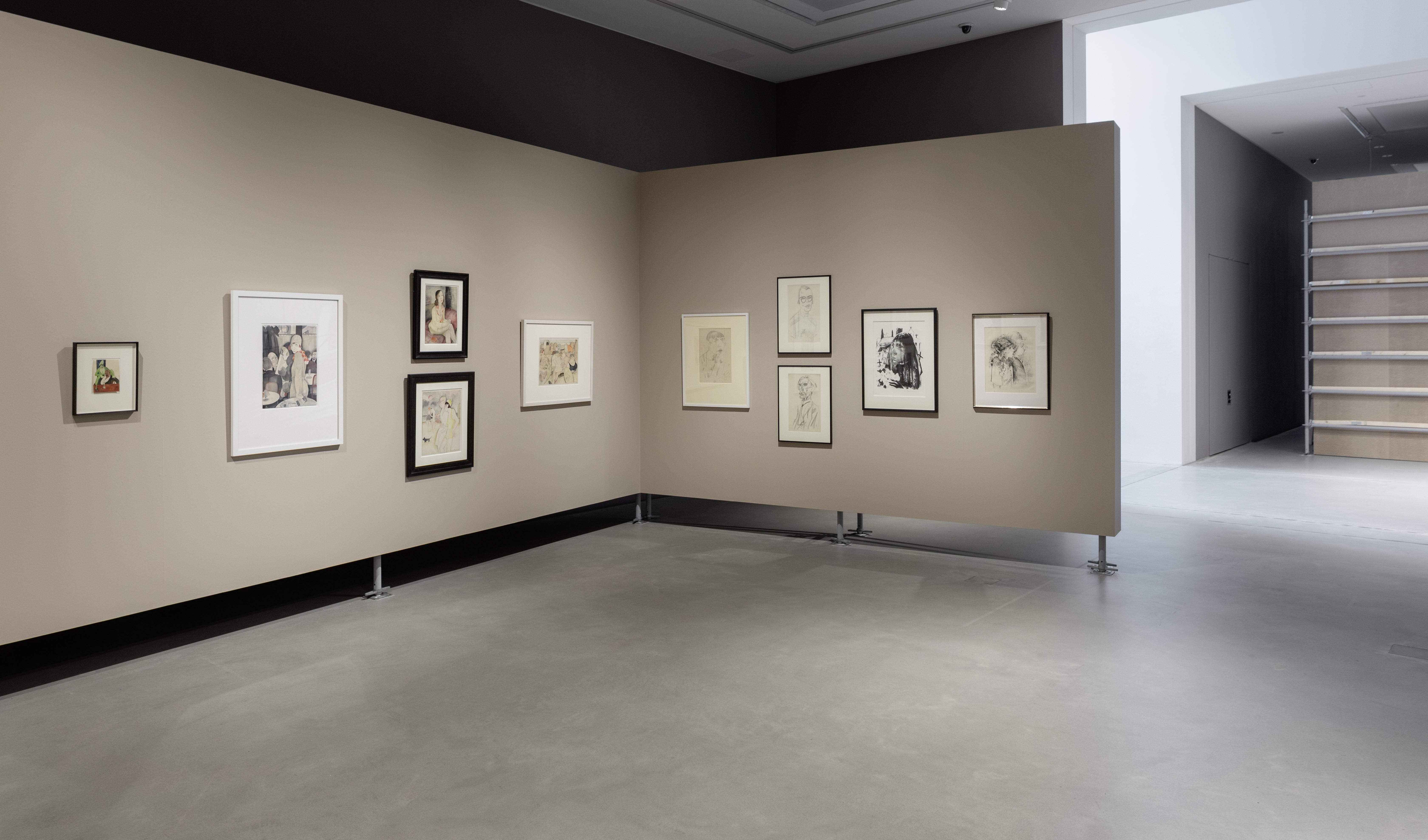 """Installationsansicht in der Ausstellung """"Umbruch"""" mit Werken von Jeanne Mammen, Kunsthalle Mannheim, 2020; Kunsthalle Mannheim/Foto: Rainer Diehl"""