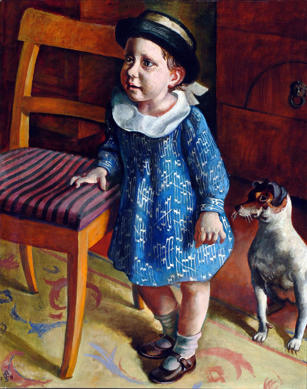 August Wilhelm Dressler, Kinderbildnis (Bildnis meiner Tochter), 1927 – 1928 Öl auf textilem Bildträger, 74,6 x 59,4 cm Kunsthalle Mannheim Foto: Kunsthalle Mannheim © August Wilhelm Dressler