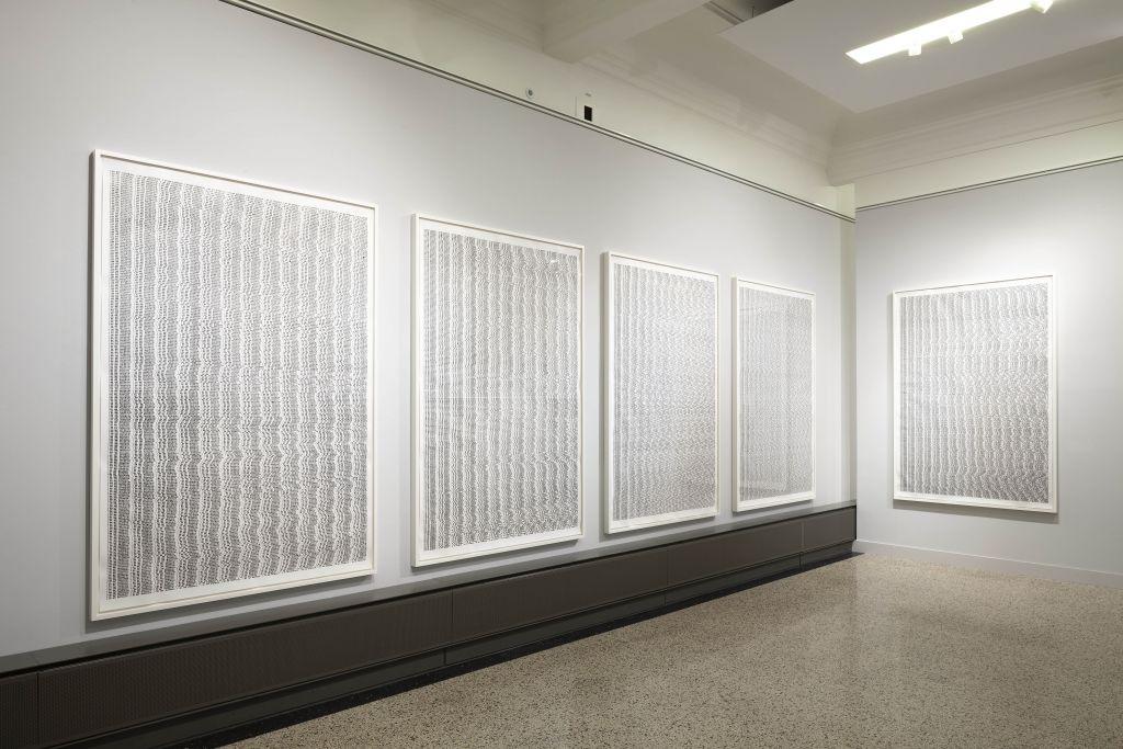 Nadine Fecht: hysteria, 2016, 5 parts, ink on paper, 205 x 950 cm (each 205 x 140 cm) Photo: Kunsthalle Mannheim/ Kathrin Schwab © VG Bild-Kunst, Bonn 2019