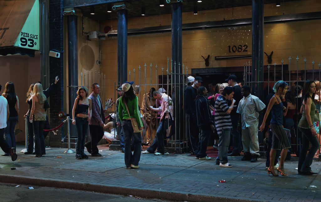 Jeff Wall, In front of a nightclub, 2006 Transparency in lightbox, 226 x 360.8 cm courtesy the artist © Jeff Wall