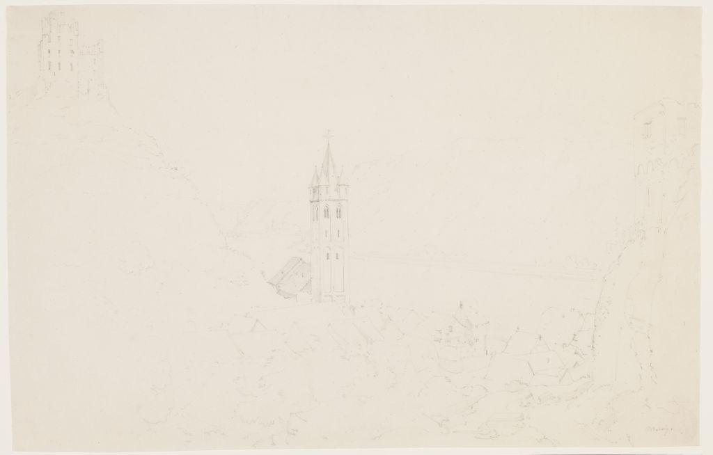 Ernst Fries (1801 - 1833), Blick von der Höhe auf Welmich mit Burg Maus und Rheintal, 1821