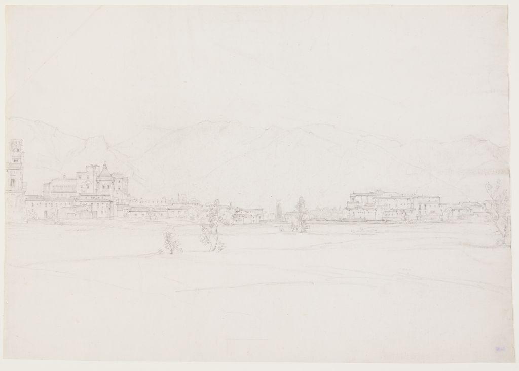 Johann Martin von Rohden (1778 - 1868), Blick auf eine italienische Stadt am Fuße des Gebirges, um 1832 / 1833