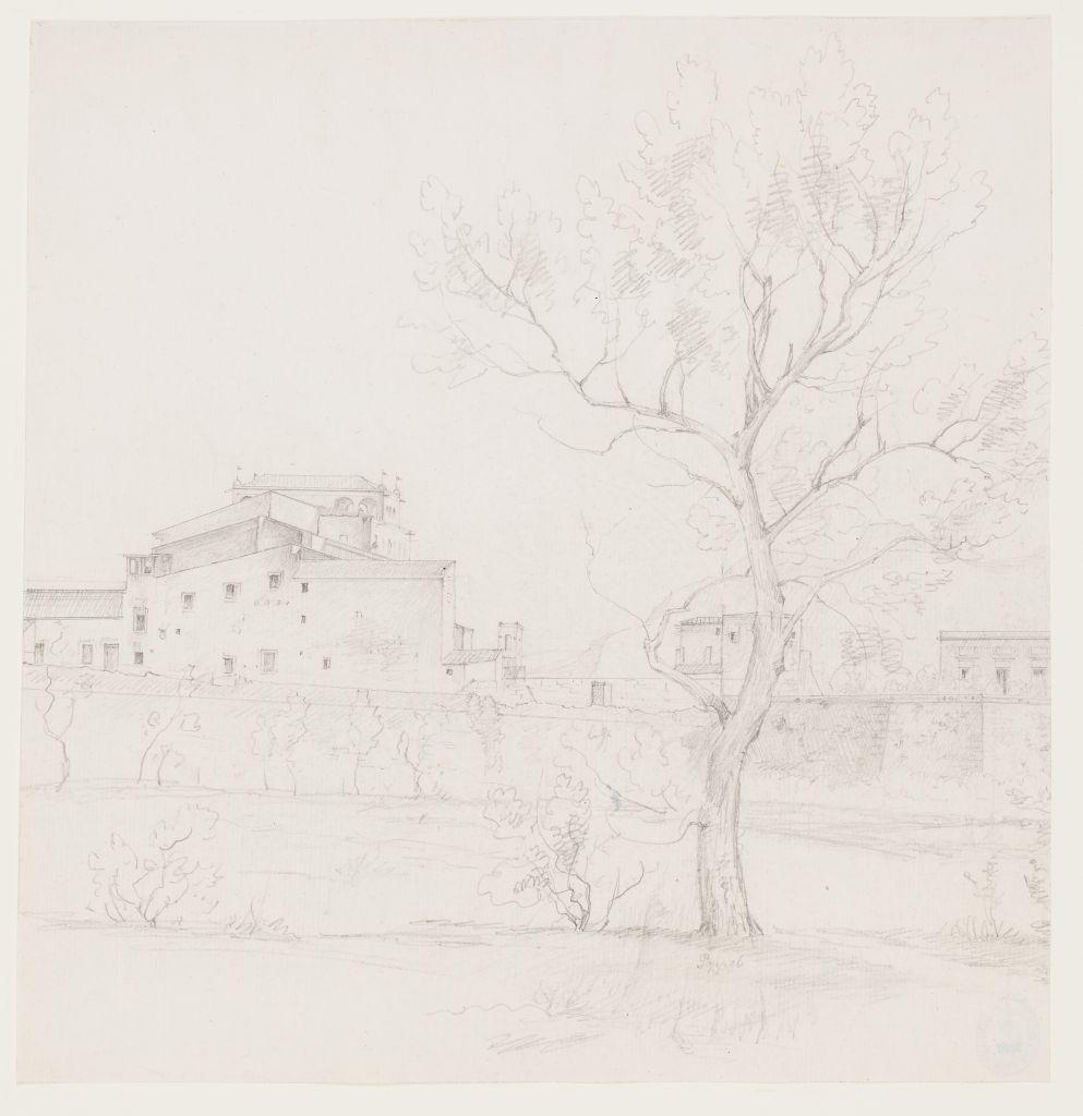 Johann Martin von Rohden (1778 - 1868), Blick auf Häuser einer italienischen Stadt, um 1832 / 1833