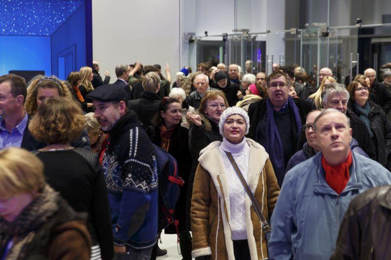 """Besucheransturm bei den """"Tagen der offenen Tür"""" im Neubau der Kunsthalle Mannheim; Foto: Kunsthalle Mannheim/ Dietrich Bechtel"""