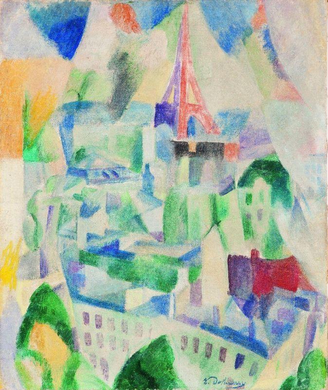 """Robert Delaunays """"Das Fenster zur Stadt"""" (1910–14) ist ein Meisterwerk der Sammlung, das in einem der 16 Arbeitsblättern der Kunstvermittlung behandelt wird (Foto: Kunsthalle Mannheim/ Kathrin Schwab)"""