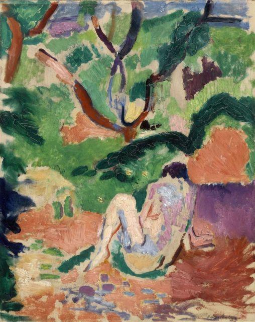 Cover des Ausstellungskataloges: Henri Matisse, Akt im Wald | Nu dans la forêt, 1906, Öl auf Holz, 40.6 x 32.4 cm, Brooklyn Museum, Geschenk von George F. Of, 52.150, © Succession H. Matisse/ VG Bild-Kunst, Bonn 2019