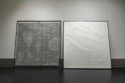 Nadine Fecht: privileged, 2016, Diptychon, Tinte auf Kohlepapier und Kohle auf Papier, je 260 x 250 cm, Foto: Kunsthalle Mannheim/ Kathrin Schwab © VG Bild-Kunst, Bonn 2019