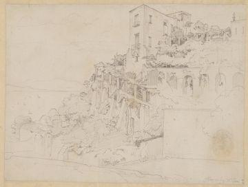 Ernst Fries (1801 - 1833), Haus mit Laubengang am Golf von Neapel, 1826