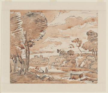Franz Kobell (1749 - 1822), Südliche Landschaft mit Gewässer und Bäumen, um 1780