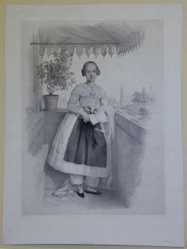 Franz Seraph Hanfstaengl (1804 - 1877), Mädchen auf einem Balkon am Dresdener Elbe-Ufer, ohne Datierung