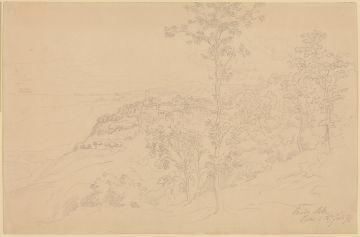 Friedrich Metz (1820 - 1901), Italienische Landschaft (Nemi d. 18ten Juli 76), 1876 Bleistiftzeichnung