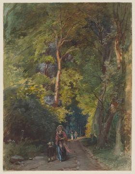 Philipp Rumpf (1821 - 1896), Waldweg mit Dame und kleinem Jungen, ohne Datierung