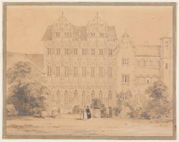 Theodor Verhas (1811 - 1872), Hof im Heidelberger Schloß (Ottheinrichsbau), ohne Datierung