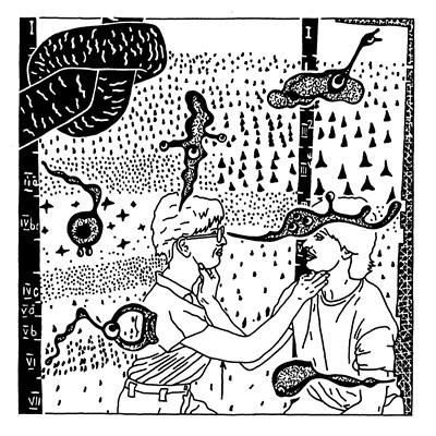 Heinz Emigholz: Zeichnung aus der Serie DIE BASIS DES MAKE-UP, 1974-2019, www.pym.de © VG Bild-Kunst Bonn, 2019